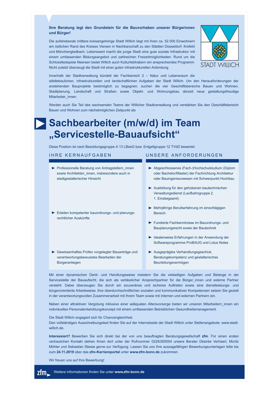 Sachbearbeiter M W D Im Team Servicestelle Bauaufsicht