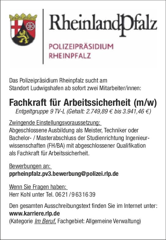 Fachkraft Für Arbeitssicherheit Mw Polizeipräsidium Rheinpfalz
